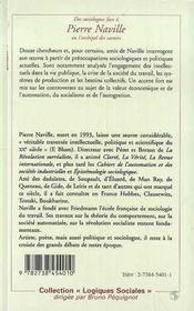 Des Sociologues Face Pierre Naville Ou L'Archipel Des Savoirs - 4ème de couverture - Format classique