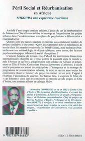 Peril Social Et Reurbanisation En Afrique ; Sokouba Une Experience Ivoirienne - 4ème de couverture - Format classique
