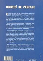 Identite de l'europe ; histoire et ecologie - 4ème de couverture - Format classique