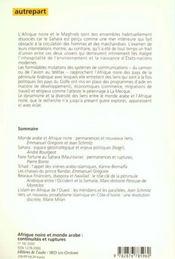 Autrepart N.16 ; Afrique Noire Et Monde Arabe - 4ème de couverture - Format classique