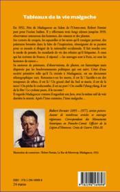 Tableaux de la vie malgache - 4ème de couverture - Format classique