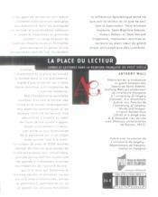 La place du lecteur ; livres et lectures dans la peinture française du XVIIIe siècle - 4ème de couverture - Format classique