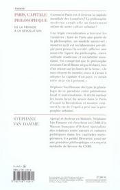 Paris, Capitale Philosophique - 4ème de couverture - Format classique