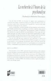 Recherche A L Heure De La Psychanalyse - 4ème de couverture - Format classique