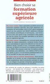 Bien Choisir Sa Formation Agricole Superieure - 4ème de couverture - Format classique