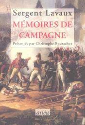 Memoires De Campagne - Intérieur - Format classique