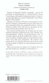 Lettres A Sophie - 4ème de couverture - Format classique