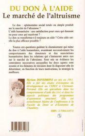 Du Don A L'Aide ; Le Marche De L'Altruisme - 4ème de couverture - Format classique