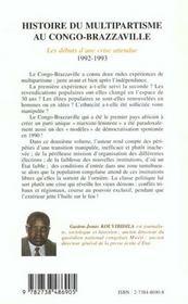 Histoire Du Multipartisme Au Congo Brazzaville - 4ème de couverture - Format classique