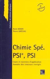Chimie spe psi psi 2 edition cours + annales 97 + corriges - Intérieur - Format classique
