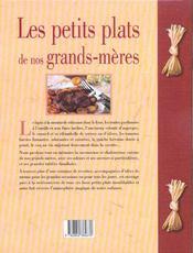 Les Petits Plats De Nos Grands-Meres - 4ème de couverture - Format classique