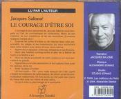 Le Courage D'Etre Soi (Cd) - 4ème de couverture - Format classique
