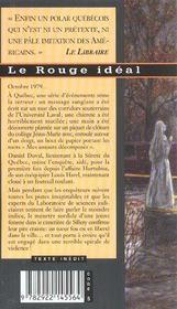 Le rouge idéal - 4ème de couverture - Format classique