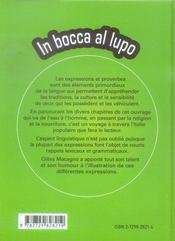 In bocca al lupo ; mille et une expressions et façons de dire pour apprendre l'italien - 4ème de couverture - Format classique