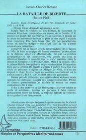 La Bataille De Bizerte - 4ème de couverture - Format classique