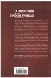 La Justice Belge Face Au Genocide Rwandais ; L'Affaire Ntezimana - 4ème de couverture - Format classique