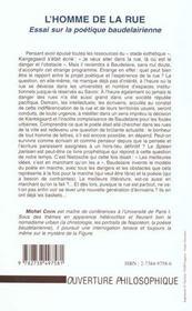 L'Homme De La Rue ; Essai Sur La Poetique Beaudelairienne - 4ème de couverture - Format classique
