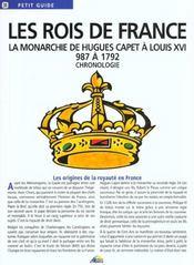 PETIT GUIDE T.38 ; les rois de France ; la monarchie de Hugues Capet à Louis XVI, 987 à 1792 ; chronologie - Intérieur - Format classique