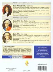 Les rois de France ; la monarchie de Hugues Capet à Louis XVI, 987 à 1792 ; chronologie - 4ème de couverture - Format classique