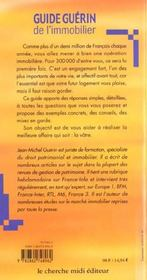 Guide Guerin De L'Immobilier ; Edition 2001-2002 - 4ème de couverture - Format classique