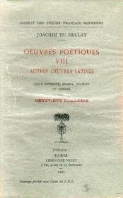 Oeuvres poétiques t.8 ; autres oeuvres latines - Couverture - Format classique