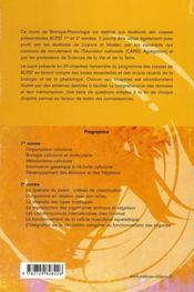 Manuel de biologie physiologie ; bcpst, 1e et 2e année - 4ème de couverture - Format classique