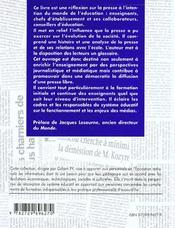 L'Ecole Et La Presse A L'Ecole De La Presse La Presse A L'Ecole - 4ème de couverture - Format classique