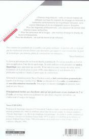 Pour une semantique des constructions grammaticales - 4ème de couverture - Format classique