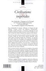 Civilisations Imperiales T.2 - 4ème de couverture - Format classique