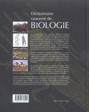 Dictionnaire Raisonne De Biologie - 4ème de couverture - Format classique