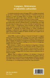 Langues, littératures et identités culturelles - 4ème de couverture - Format classique