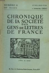 CHRONIQUE DE LA SOCIETE DES GENS DE LETTRES DE FRANCE N°2, 95e ANNEE ( 2e TRIMESTRE 1960) - Couverture - Format classique