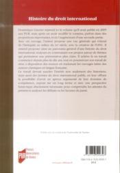 Une histoire du droit international ; de l'Antiquité à la création de l'ONU - 4ème de couverture - Format classique