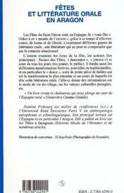 Fetes Et Litterature Orale En Aragon - 4ème de couverture - Format classique