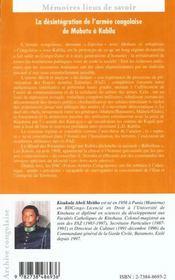 La Desintegration De L'Armee Congolaise De Mobutu A Kabila - 4ème de couverture - Format classique