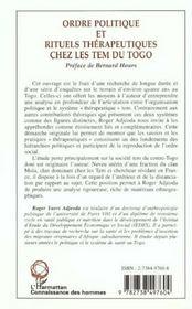 Ordre Politique Et Rituels Therapeutiques Chez Les Tem Du Togo - 4ème de couverture - Format classique