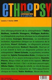 Ethnopsy, N 1, Actualite De La Schizophrenie - 4ème de couverture - Format classique