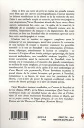 Stendhal et la liberté - 4ème de couverture - Format classique