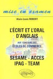 L'Ecrit Et L'Oral D'Anglais Aux Concours Des Ecoles De Commerce Sesame Acces Ipag Team - Intérieur - Format classique