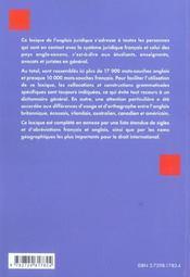 Lexique De L'Anglais Juridique Francais-Anglais-Francais - 4ème de couverture - Format classique