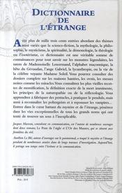 Dictionnaire de l'étrange - 4ème de couverture - Format classique