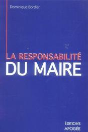 La responsabilite du maire - Intérieur - Format classique