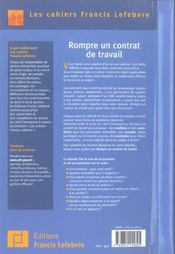 Rompre un contrat de travail - 4ème de couverture - Format classique