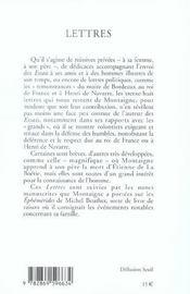 Lettres ; notes de Montaigne sur les éphémérides de Beuther - 4ème de couverture - Format classique