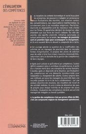 L'Evaluation Des Competences ; Pour Une Nouvelle Approche Du Management Operationnel - 4ème de couverture - Format classique