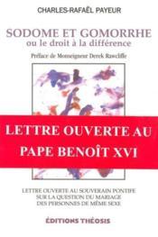 Sodome Et Gomorrhe - Droit A La Difference - Couverture - Format classique