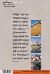 Architecture industrielle ; paris & alentours - 4ème de couverture - Format classique