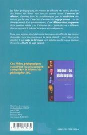 Fiches Pedagogiques Philosophie Terminale Stg - 4ème de couverture - Format classique
