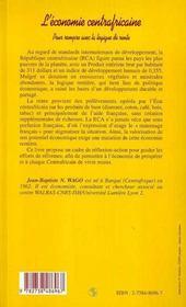 L'économie centrafricaine ; pour rompre avec la logique de rente - 4ème de couverture - Format classique