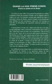 Quand La Voix Prend Corps ; Entre La Scene Et Le Divan - 4ème de couverture - Format classique
